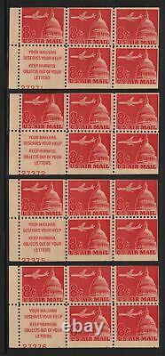 1962 AIRMAIL Sc C64b carmine 8c MNH 60% ALL plate numbers for issue