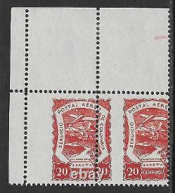 Colombia stamps 1921 YV Airmail 32 PAIR strong misperforation MNH/MLH VF
