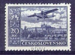 Czechoslovakia 1930 Air Airmail Stamp 20kr Sign Signed 12 1/4 perf MNH OG VF