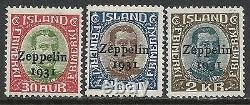 Iceland stamps 1931 YV Airmail 9-11 Zeppelin MNH VF