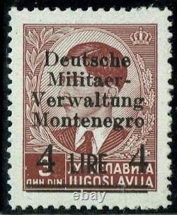 WWII, GERMAN OCCUPATION OF MONTENEGRO, 4Lire 3Din, Mi. 5/I, MNH with ATTEST